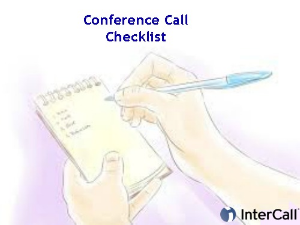 Conference Call Checklist